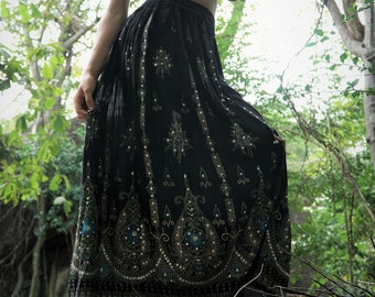 Handmade Embroidered Skirt Maxi Full Length Black Turquoise Sequins Hippie Boho Gypsy