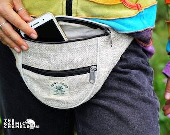 Hemp Handmade Bum Bag Waist Fanny Pack Belt Multi-Pocket Festival Travel  Pouch Hippie Bag Beige Natural Sustainable 0ec84f2dbc550