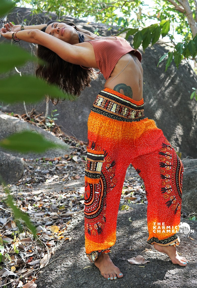 a25ab1e5b9ad31 Harem Pants Hippie Pants Yoga Pants Bright Orange Tribal | Etsy