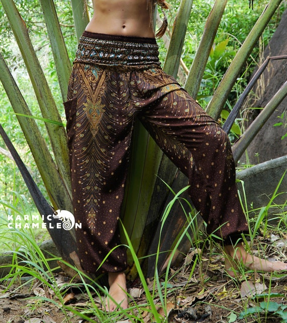Harem Pants Women Hippie Yoga Pants Brown Peacock Feather Boho Hippie Clothing Comfy Louungewear Gypsy Loose Ladies Baggy Colourful Festival