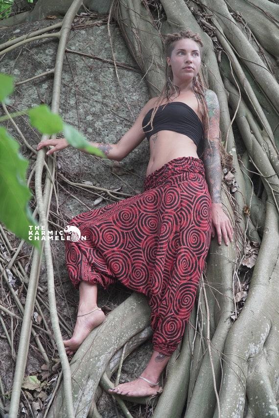 Harem Hippie Pants Yoga Gypsy Aladdin Black /& White Loose Festival Swirl Boho