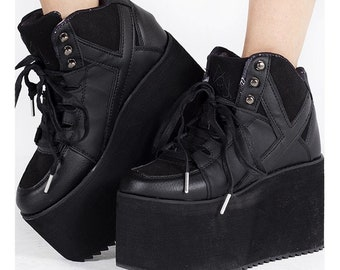 YRU QOZMO Doc Pastel Kawaii Black Punk Emo Rocker GOTHIC Goth Vegan Adult Ladies Platform Boot Shoe