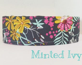 Handmade Dog Collar, Handmade, Dog Collar, Flowers, Ivy, Yellow, Gray, Pink, Mint, Minted Ivy