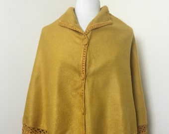 Vintage 1970s Mustard Yellow Wool Cloak