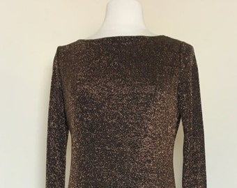 Vintage 1989s Georgiou Studio Glittery Bronze open back Maxi Dress