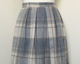 High Waisted Plaid Pleated Wool Skirt