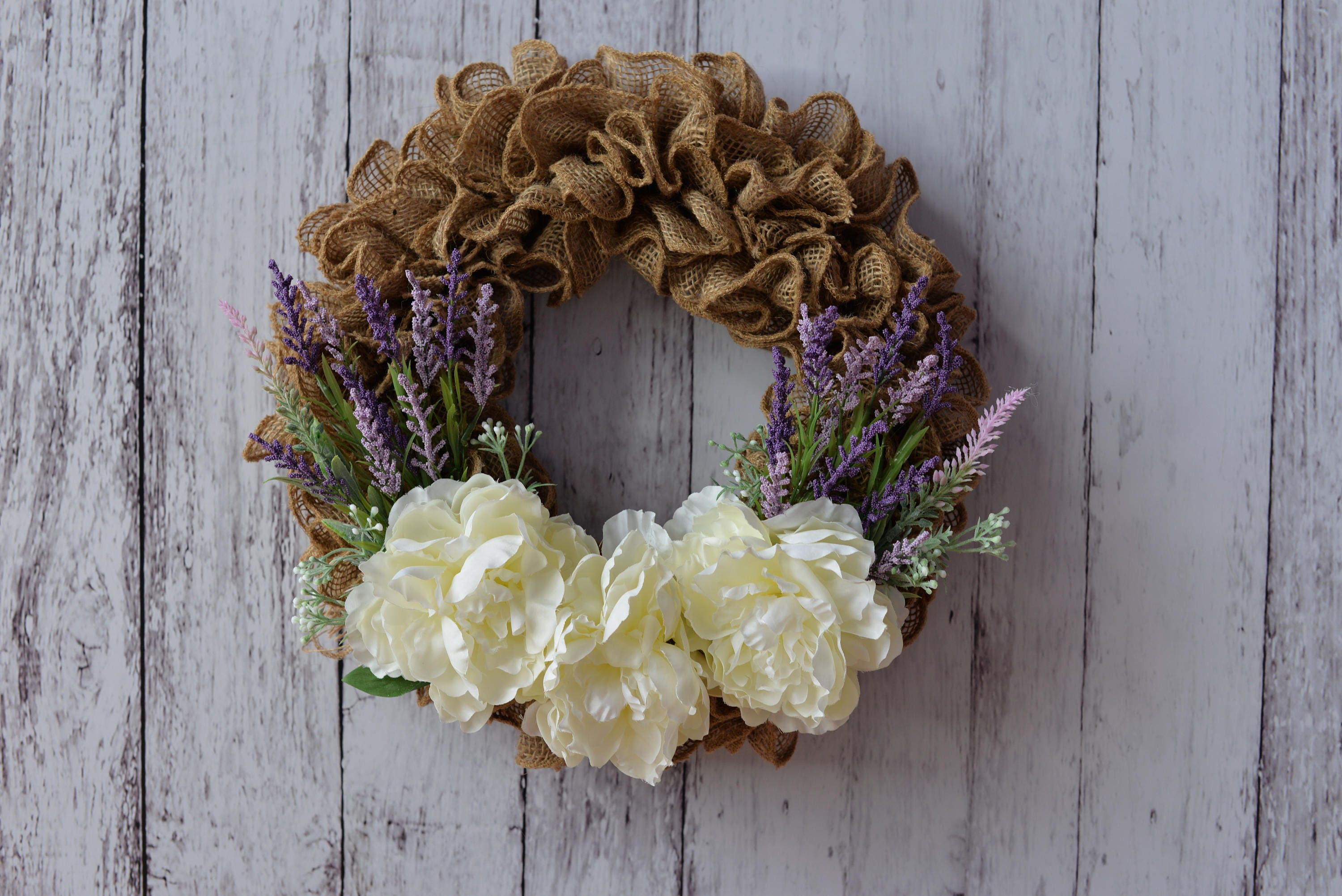 Burlap Wreath With Lavender And White Flowers Etsy