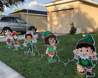 santas little helpers christmas elves yard decor free shipping - Disney Wooden Christmas Yard Decorations