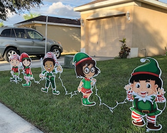 santas little helpers christmas elves yard decor free shipping - Peanuts Christmas Lawn Decorations