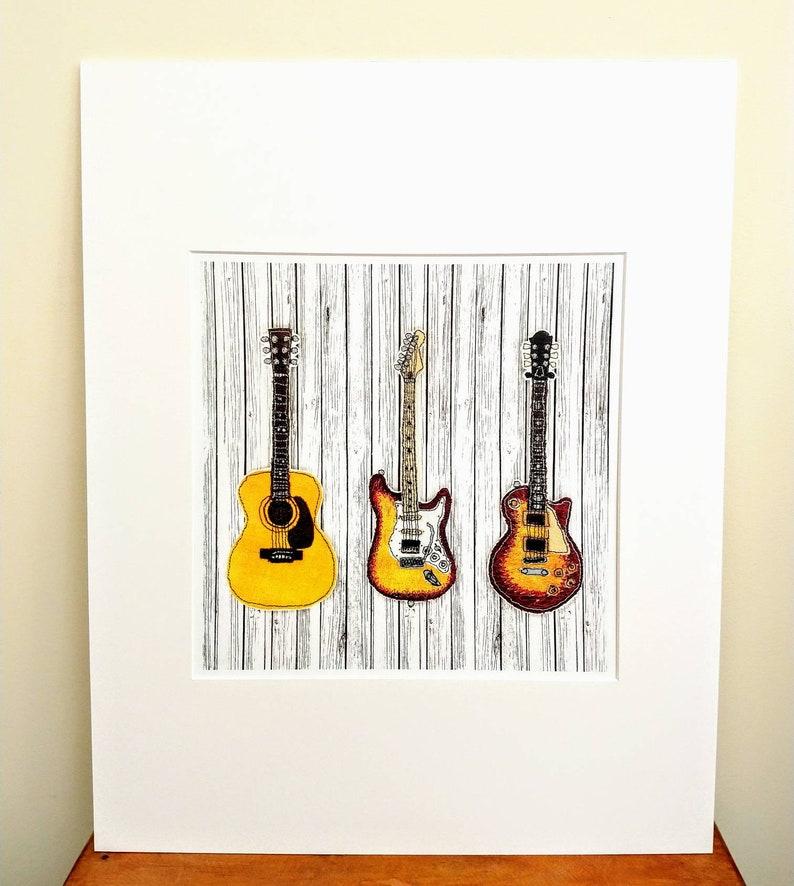 Gibson Les Paul guitar Guitar Print Acoustic Guitar Guitar Wall Art from Original Stitched Art Fender Sunburst Stratocaster