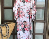 White Roses Cotton Caftan,MAXI DRESS,long Kaftan,plus size dress,oversized dress,beach kaftan,oversized caftan,kimono