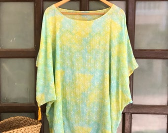 4fa6b16fc39af Yellow Blue Cotton Tunic, beach coverup,Plus Size tunic,oversized tunic,plus  size cover up,beach caftan