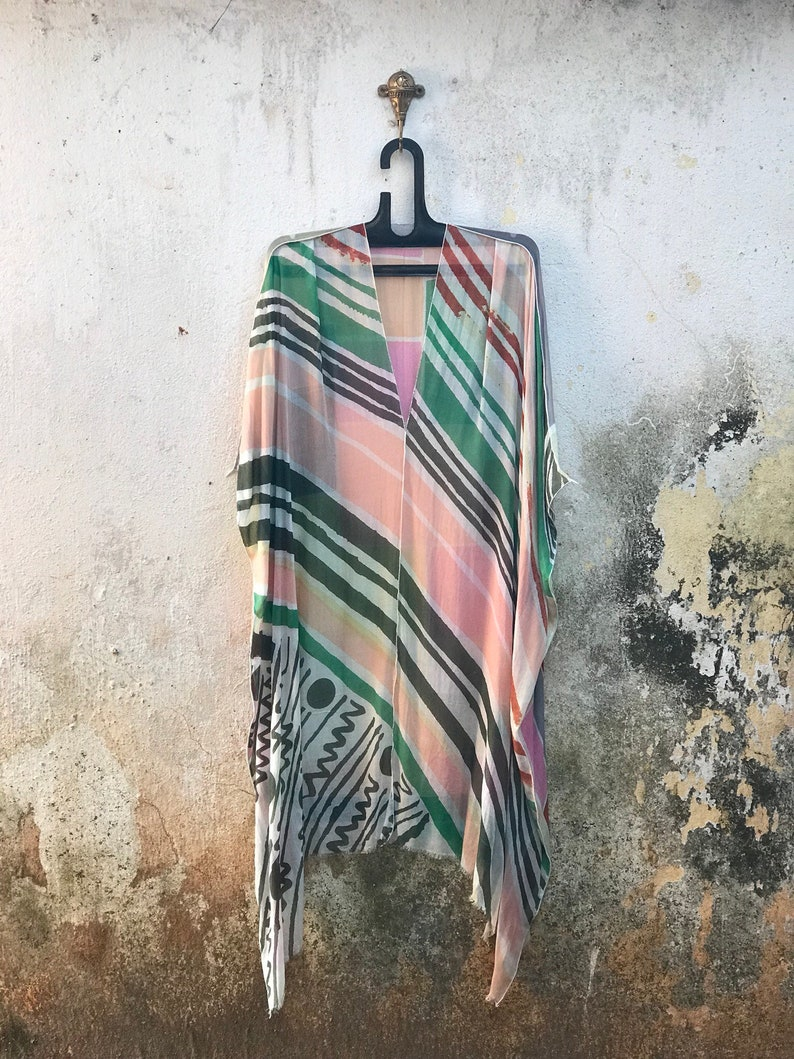 free size poncho,modern poncho,beach coverup,plus size poncho,loose caftan,kimono,kaftan,beach dress Geometric Sunny Summer Poncho Caftan