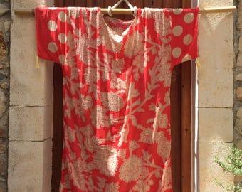 Coral Beige Cotton Caftan,MAXI DRESS,long Kaftan,plus size dress,oversized dress, beach kaftan,oversized caftan, sarong