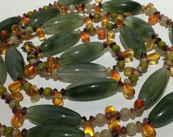 Vintage Long Strand Faux Amber Necklace