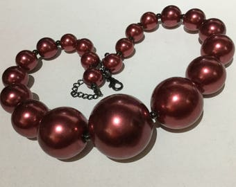Red Burgundy, Graduated Faux Pearl Necklace