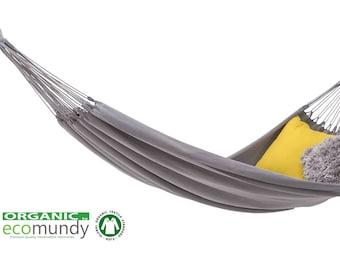 Ecomundy Familia XXL Bio - hamac familial, naturel, de qualité supérieure en coton BIO - GOTS, 200x260cm, 300 kg
