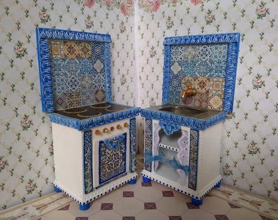 Maison de poupées victorienne Cuisinière Poêle à bois miniature échelle 1:12 cuisine meubles