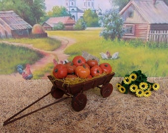 The cart with pumpkins. Vegetable garden. Miniature Dollhouse. 1:12 Scale