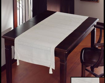 Embroidered and Hemstitched 100% Cotton Table Runner with Handmade Cotton Tassels