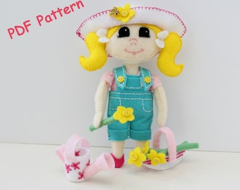 Doll Sewing Pattern, Download Doll & Gardening Outfit, Sewing Pattern, Toy Pattern,Doll Pattern,Doll Tutorial,Felt Doll Pattern. Plush Doll.