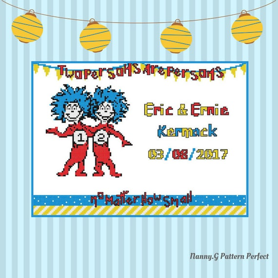 Twins Cross Stitch Patterndr Seuss Birth Sampler Pattern Etsy