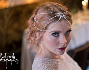 Swarovski crystal, rhinestone & pearl Bridal Hair Drape, bridal accessories, wedding accessories, wedding hair piece, bridal hair accessory