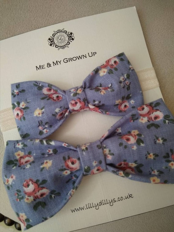 f8dc0ca52ae2 Blue & Pink Floral Bow Tie Set boys floral bow tie mens | Etsy