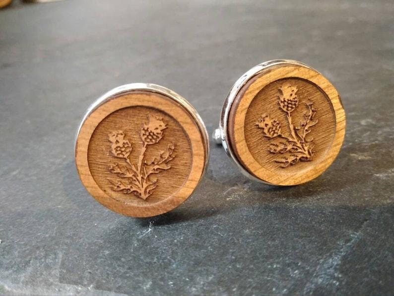 Scottish Thistle Cufflinks rustic wooden cufflinks wedding image 0