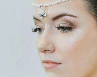 Bridal Forehead Hair Drape, bridal hair accessory, rhinestone hair drape, wedding accessories, bridal accessories, pearl hair drape