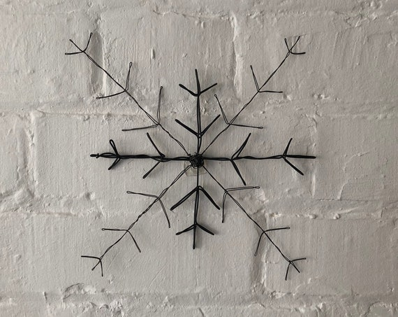 Wire art, wall hanging Snowflake. Handmade in two weights of black iron wire.