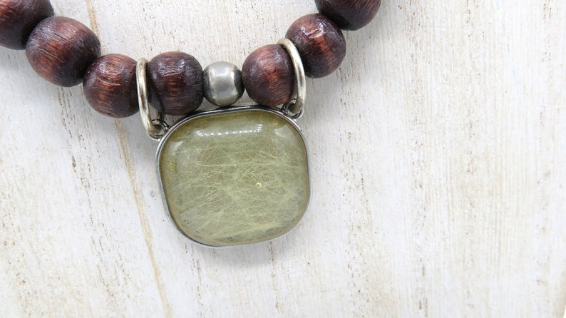 Vintage Glass Pendant Reclaimed Vintage Wood and Lustrous Beaded Necklace