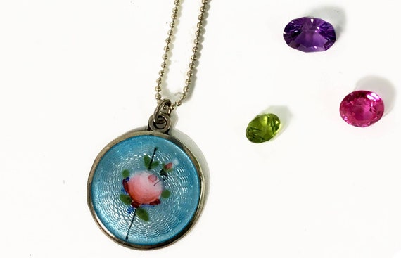 067b7a89d8ea7 Antique Silver Guilloche Pendant Necklace - Round Turquoise Sterling AEF CO  Enamel Pink Rose w/ Stem 925 Chain - Dainty Retro Necklace