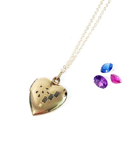 Vintage Art Deco Style 12K Gold Filled Locket Heart Shaped Line Link Necklace Pendant Jewelry    K#41