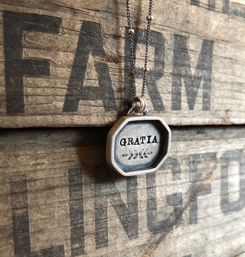 Hand-Stamped Silver Shadowbox Necklace  Rustic  Artisan Made  Gratia  Latin  Grace