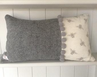 Harris Tweed and Bee print Cushion