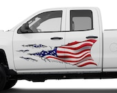 American Flag Ripped Metal - The First - Partial Vehicle Boat Wrap 3M Cast Vinyl Film