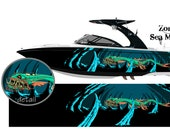 Sea Monster Zombie Wakeboarding Boat Wrap 3M Cast Wrap Vinyl