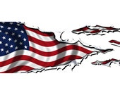 American Flag Ripped Metal - The Second - Partial Vehicle Boat Wrap 3M Cast Vinyl Film