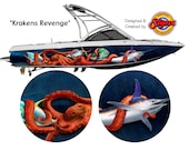 Krakens Revenge Custom Boat Wrap Design
