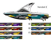 Vandal 2 Colored Checkered Racing Flag Boat Wrap 3M Cast Wrap Vinyl