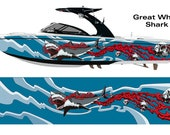 Great White Shark Bloody Skulls Wakeboarding Boat Wrap 3M Cast Wrap Vinyl