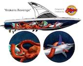Krakens Revenge Custom Boat Wrap Design
