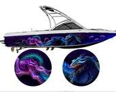 Draco vs Kraken Custom Boat Wrap Design