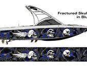 Fractured Skulls Black & Blue Wakeboarding Boat Wrap 3M Cast Wrap Vinyl