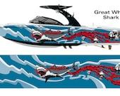 Great White Shark Bloody Skulls Wakeboarding Boat Wrap 3M Cast Wrap Vinyl