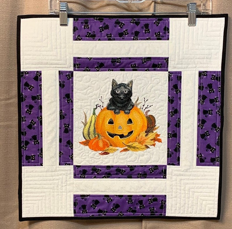 Quilted wallhanging embroidery decor halloween decor image 0