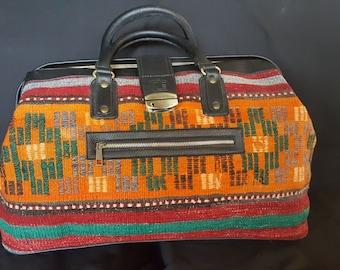 Kilim bag 13 x 20 x 8  Doctor bag - no zipper