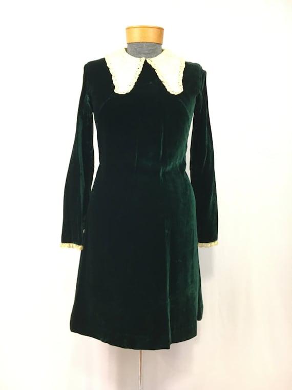 Late 60's/early 70's Vintage Emerald green velvet