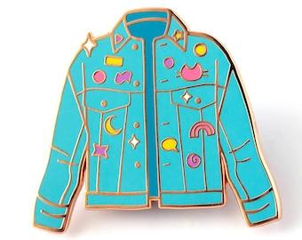 Denim Jacket Retro Meta Hard Enamel Pin - Cute Lapel Pin Gift